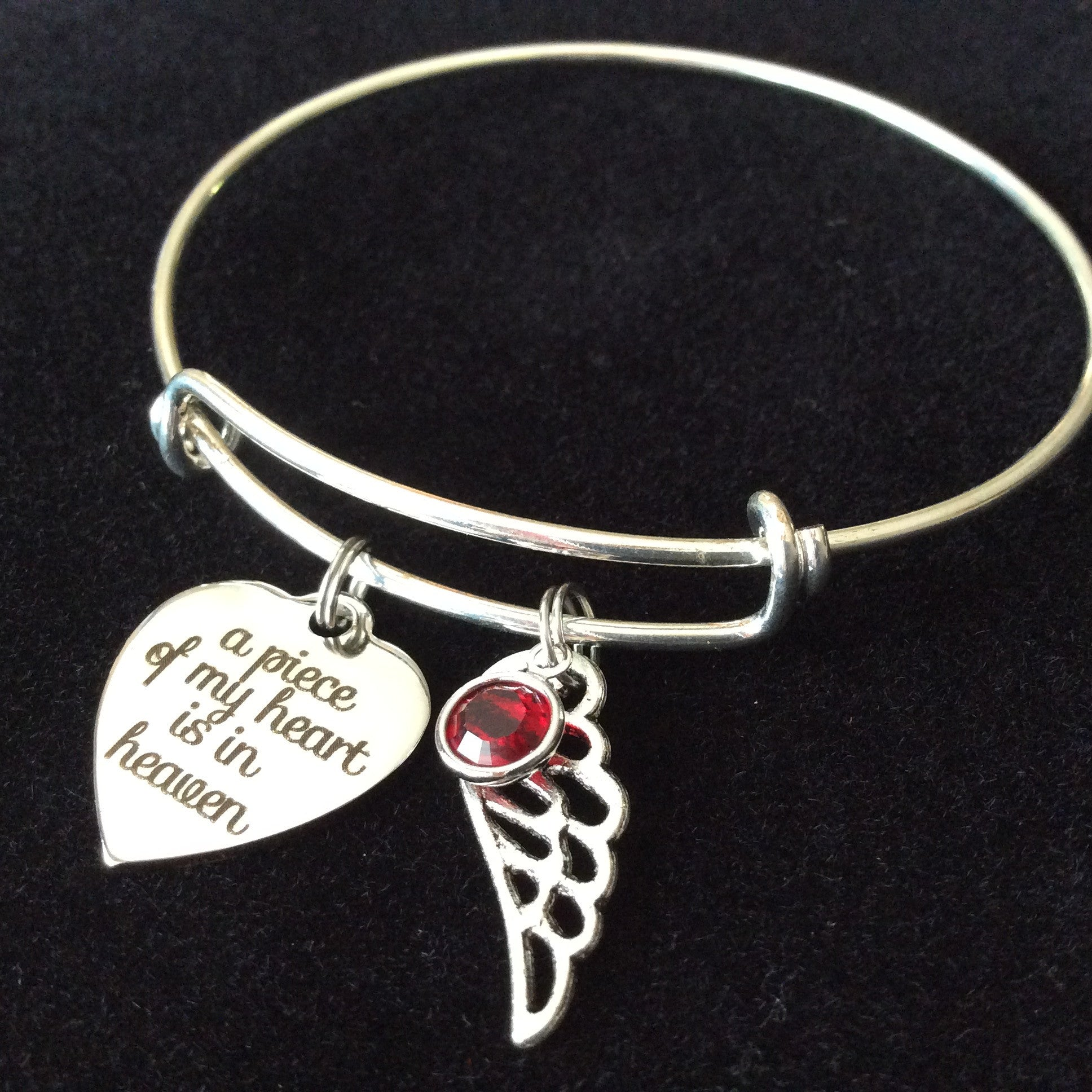 A Piece of My Heart is in Heaven Expandable Charm Bracelet