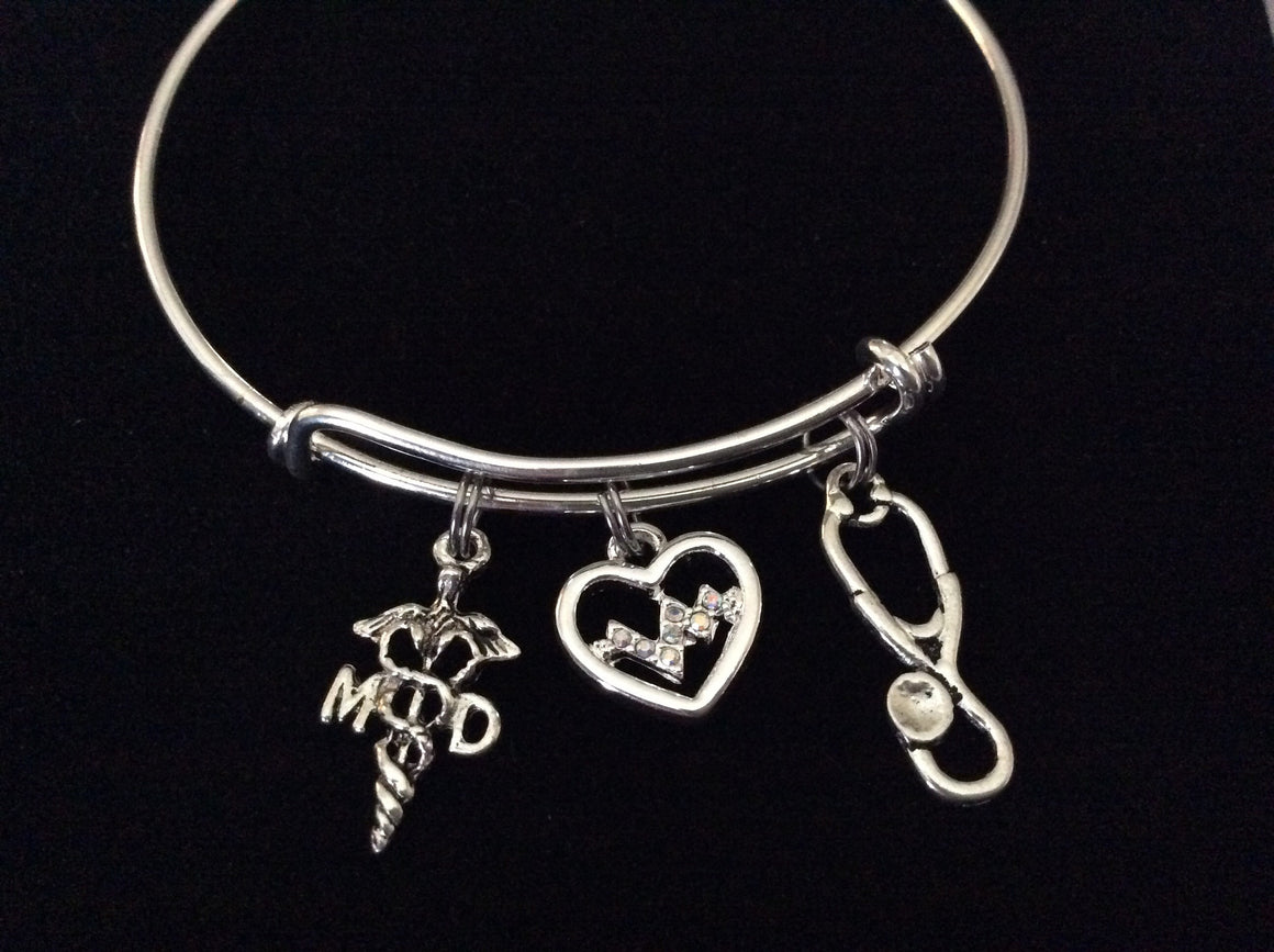 Heartbeat Doctor MD  Silver Charm Bracelet Expandable Adjustable Silver Wire Bangle