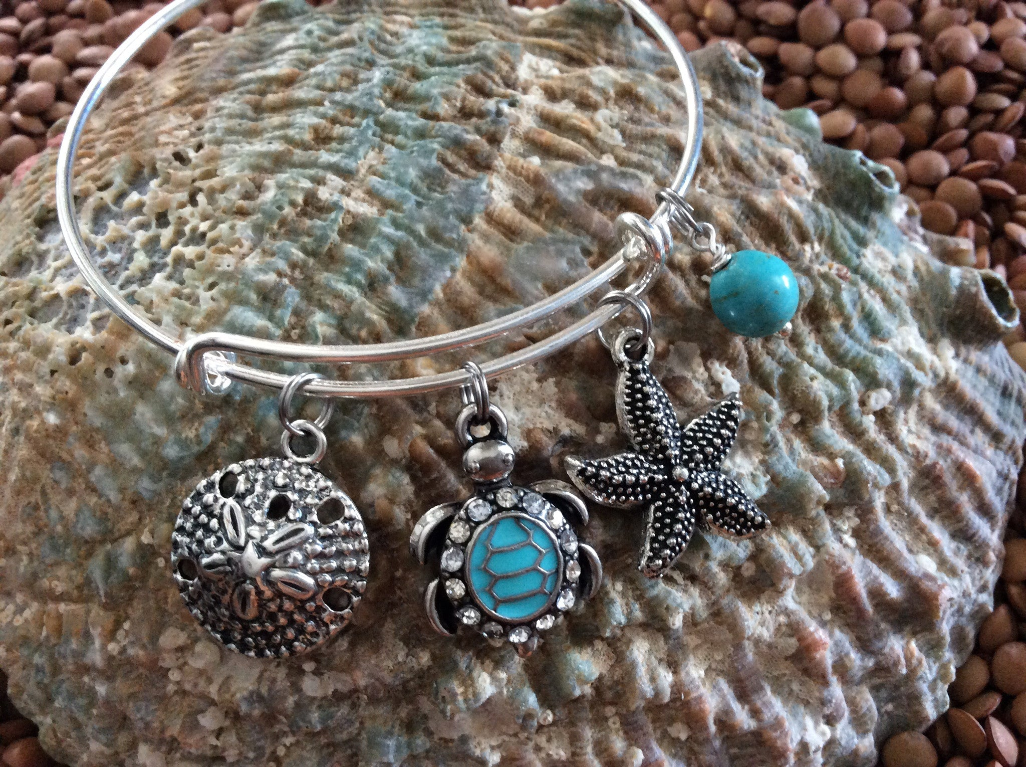 bbeb1dee4e6 ... Jewelry · Crystal Turquoise Silver Turtle Starfish Sand Dollar  Expandable Nautical Bracelet Silver Adjustable Wire Bangle Gift Ocean ...