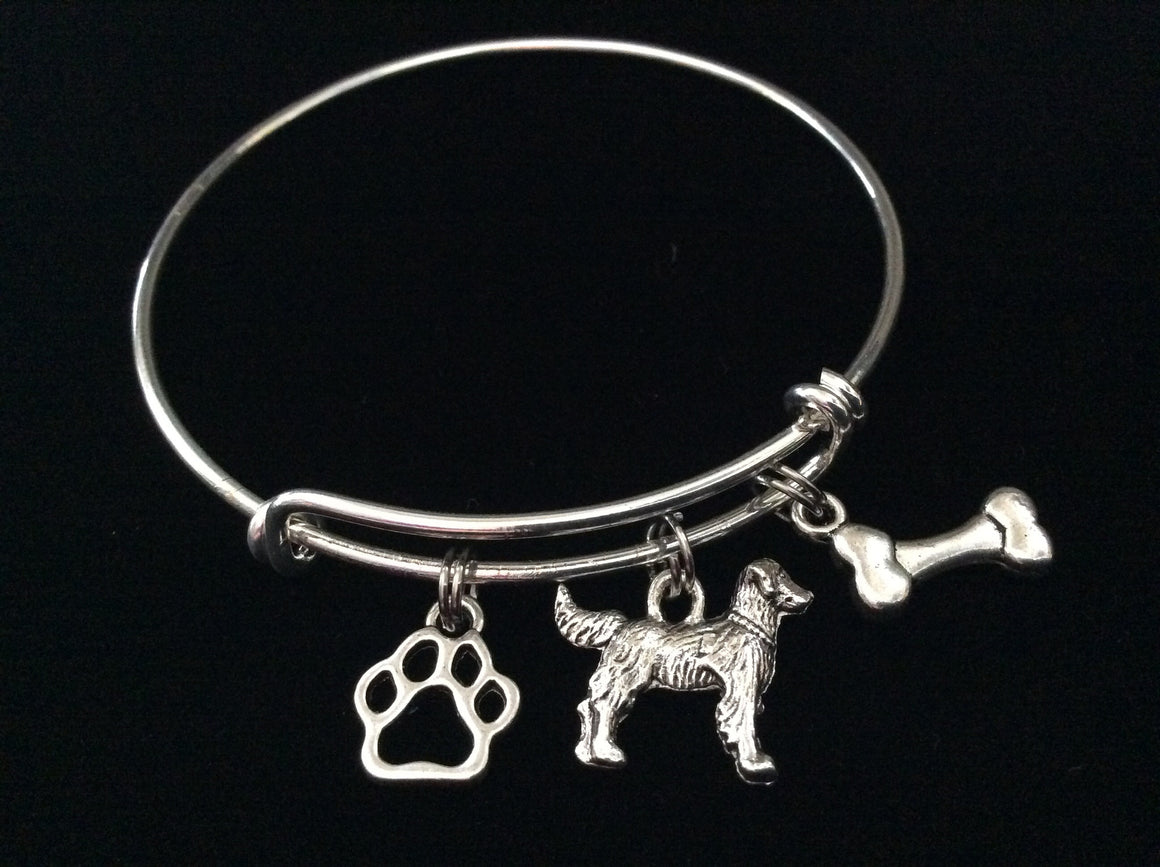Golden Retriever 3D Dog Charm on a Silver Expandable Adjustable Bangle Bracelet Meaningful Dog Lover Gift