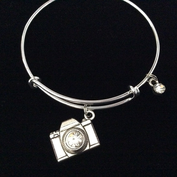 Silver Camera Charm Bracelet Expandable Wire Bangle