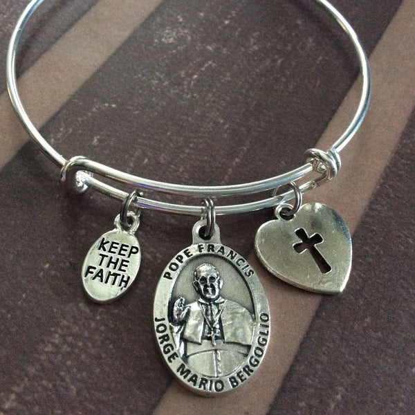 Expandable Charm Bracelets: Keep The Faith Pope Francis Silver Medal Expandable Charm
