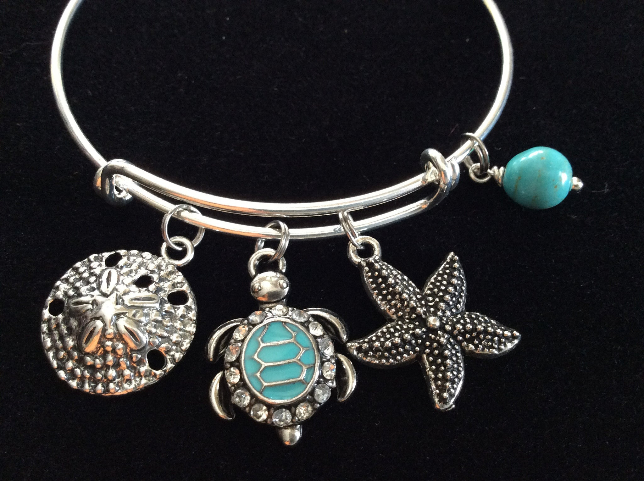 417b203cfbb ... Silver Turtle Starfish Sand Dollar Expandable Nautical Bracelet Silver  Adjustable Wire Bangle Gift Ocean Jewelry ...