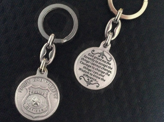 Serenity Prayer Serve and Protect Keychain Medal Silver Key Ring Protection Police Officer