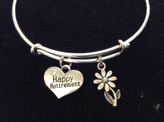 Happy Retirement with Silver Daisy Charm Bracelets Adjustable Bangle
