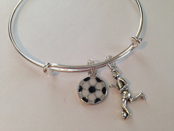 Soccer Charm Bangle Girl Playing Soccer Charm Resin Soccer