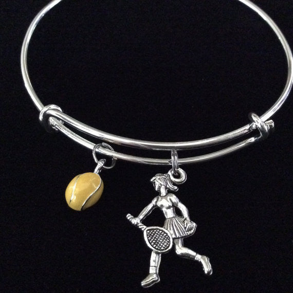 ellow Tennis Ball and Player Charm Expandable Bracelet