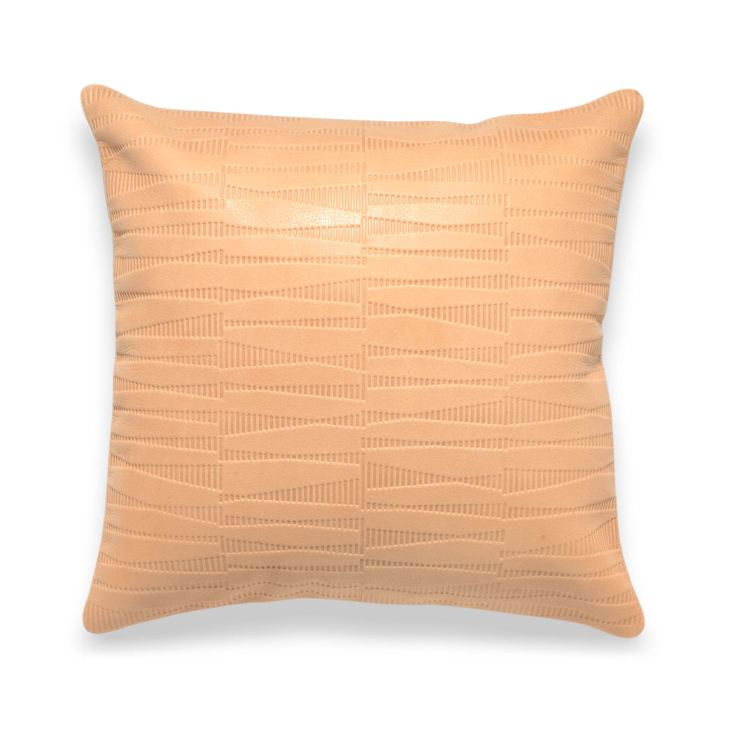 Sine Tan Leather Pillow - Duotone