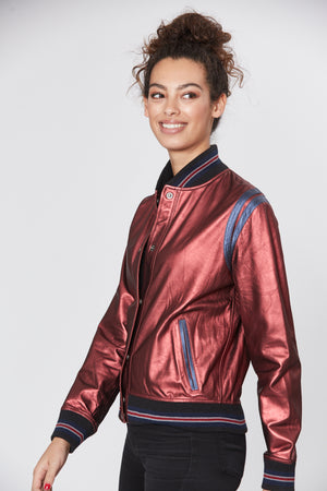 Brooke Bomber - Metallic Leather