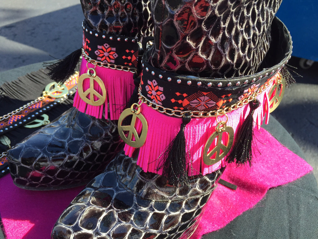 Boot Cuffs Pink Fringes