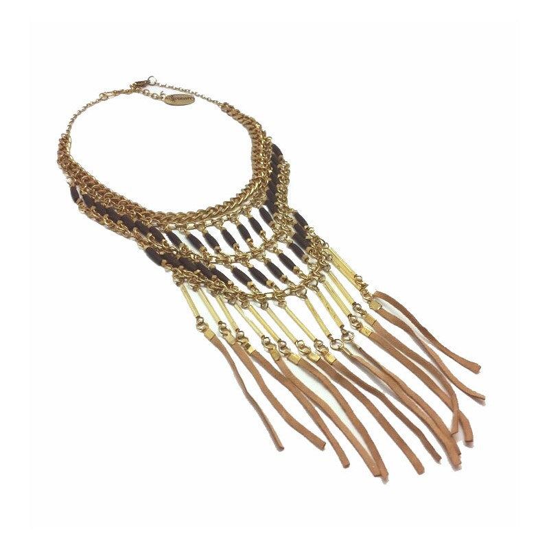 Helecho Gold-Leather Necklace