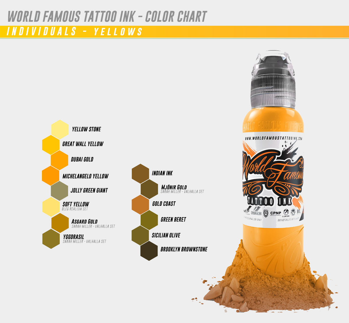 WF individual bottles - Yellows & Browns