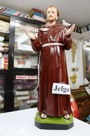Saint Francis of Assisi Statue 36 inch Fiber -Jefgo.in