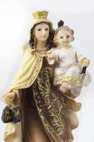 Our Lady Of Mount Carmel statue 6 inch Polymarble -Jefgo.in