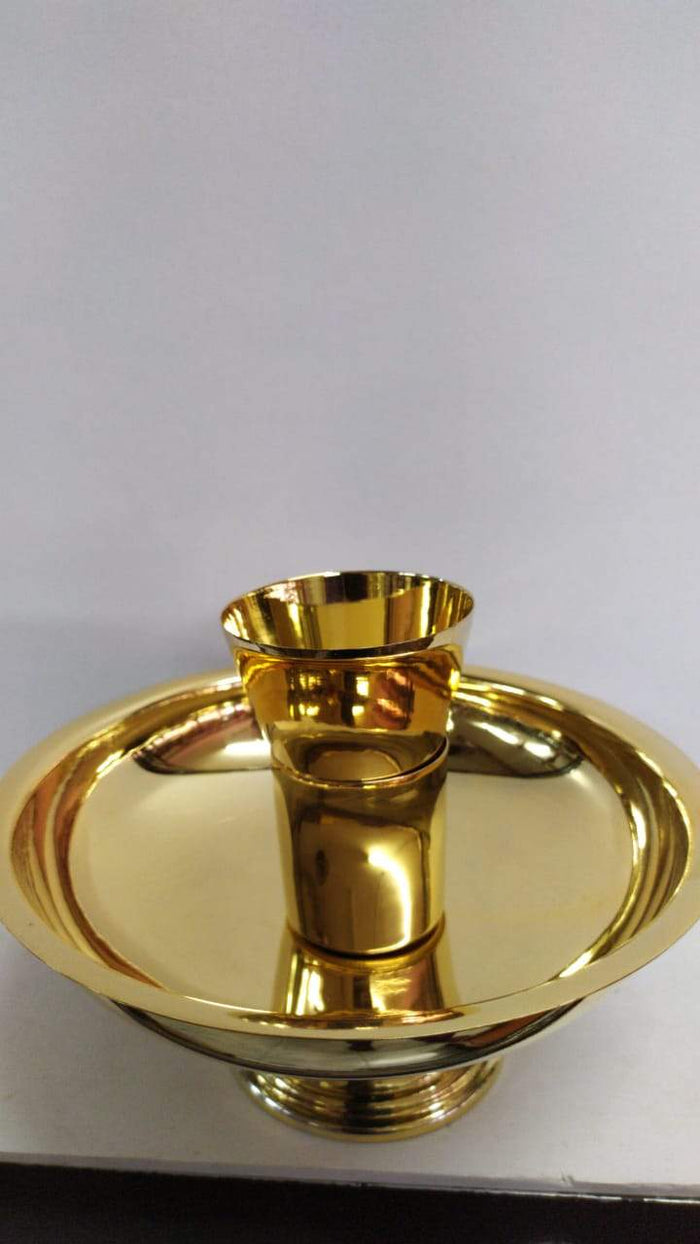 Brass Gold Open  Ciborium  With  Small Chalice inside