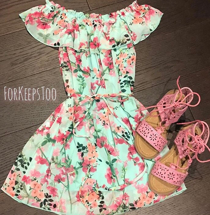 ~ For Keeps Too ~ mint floral dress with tie