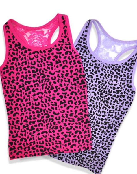 ~ For Keeps Too ~ Hot Pink cheetah & lace tank