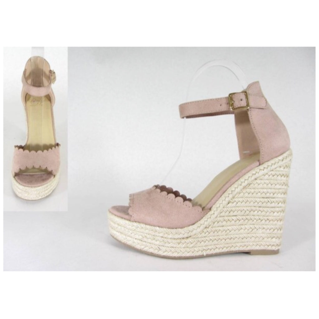 Scalloped Mauve Espadrille Wedges