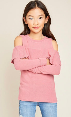 ~ For Keeps Too ~ pink cold-shoulder sweater
