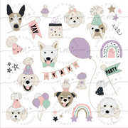 Birthday Puppies Temporary Tattoos - Purple