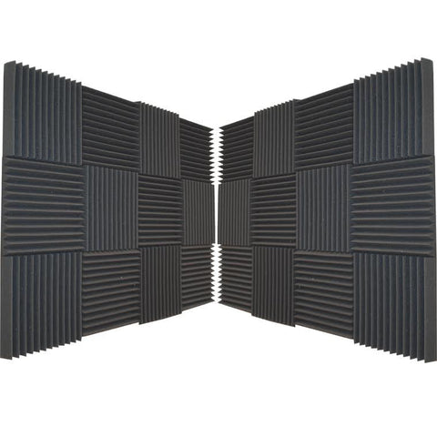 "Foamily 24 Pack Acoustic Wedge Studio Soundproofing Foam Wall Tiles 12"" X 12"" X 2"" (6 Teeth)"