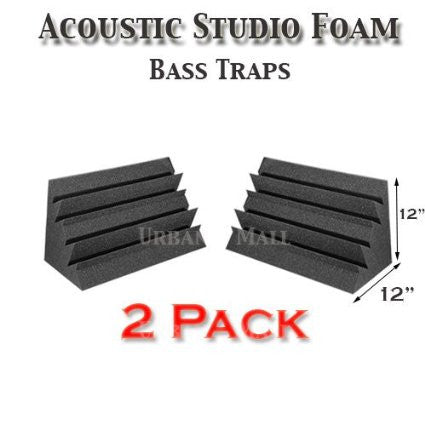 "Foamily Acoustic Foam Bass Trap Studio Soundproofing Corner Wall 12"" X 12"" X 12"" (2 PACK)"