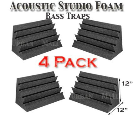 "Foamily Acoustic Foam Bass Trap Studio Soundproofing Corner Wall 12"" X 12"" X 12"" (4 PACK)"