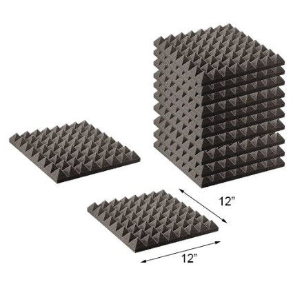 "Foamily 12 Pack - Acoustic Foam Sound Absorption Pyramid Studio Treatment Wall Panels, 2"" X 12"" X 12"""