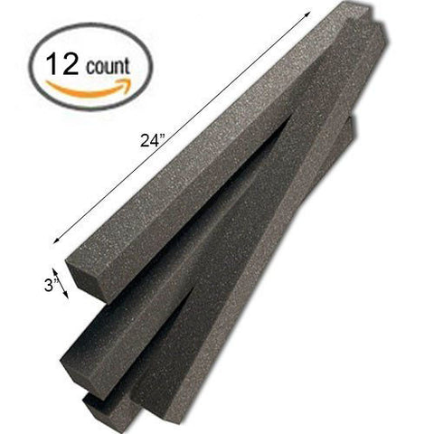 "Foamily  3"" x 3"" x 24"" Acoustic Wedge Studio Soundproofing Foam Corner Block Finish Corner Wall in Studios or Home Theater (12 Pack)"