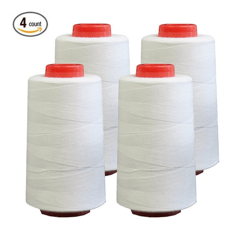 Foamily 4 PACK of 6000 Yard Spools White Sewing Thread All Purpose 100% Spun Polyester Overlock Cone (Upholstery , Canvas , Drapery, Beading, Quilting)