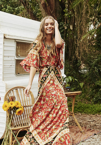 lolita cut out maxi dress 70's rust spell designs