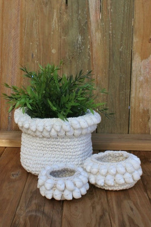 Crochet Shell Baskets - Various Sizes