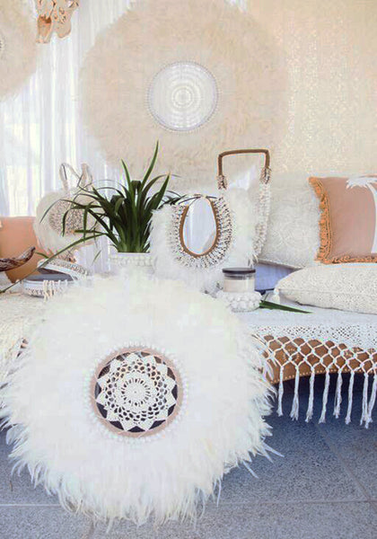 Feather Wall Art cabo gypsy | feather shell wall hanging | white bohemian store
