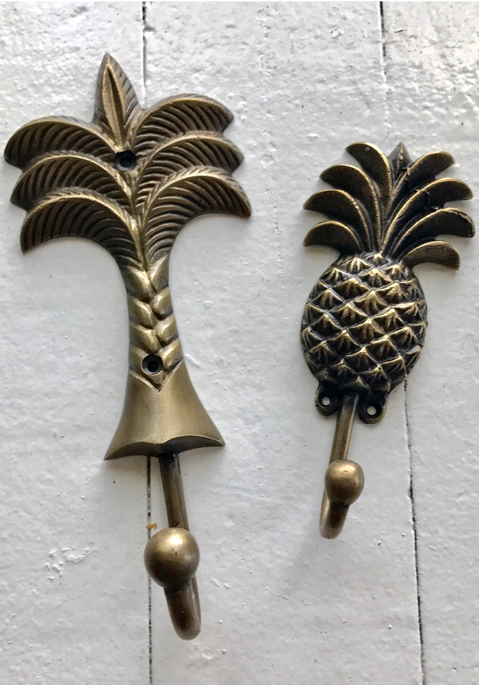 Palm Tree or Pineapple Brass Hook