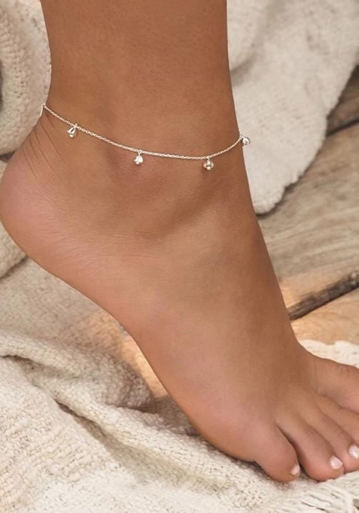 Lotus Bell Anklet -Silver