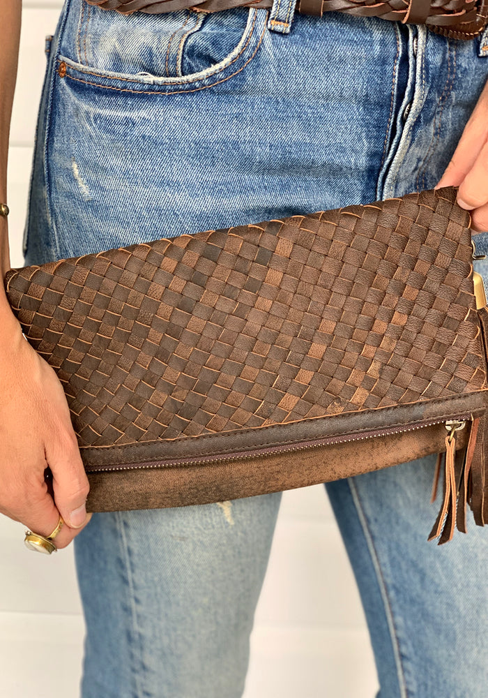 cabo gypsy malia woven leather clutch