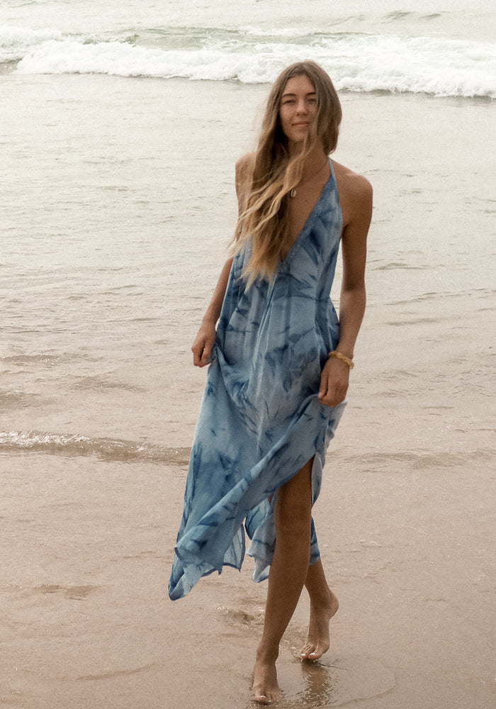 cabo gypsy barefoot backless lagoon dress tie dye
