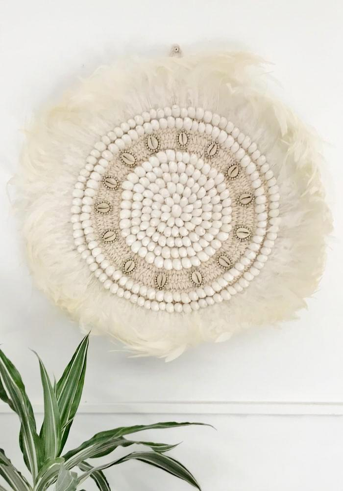 Macrame Feather + Shell Wall Hanging - White-L