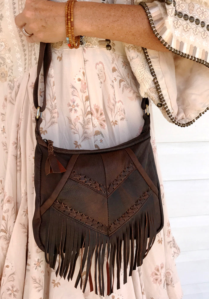 cabo gypsy rosebowl bag distressed brown