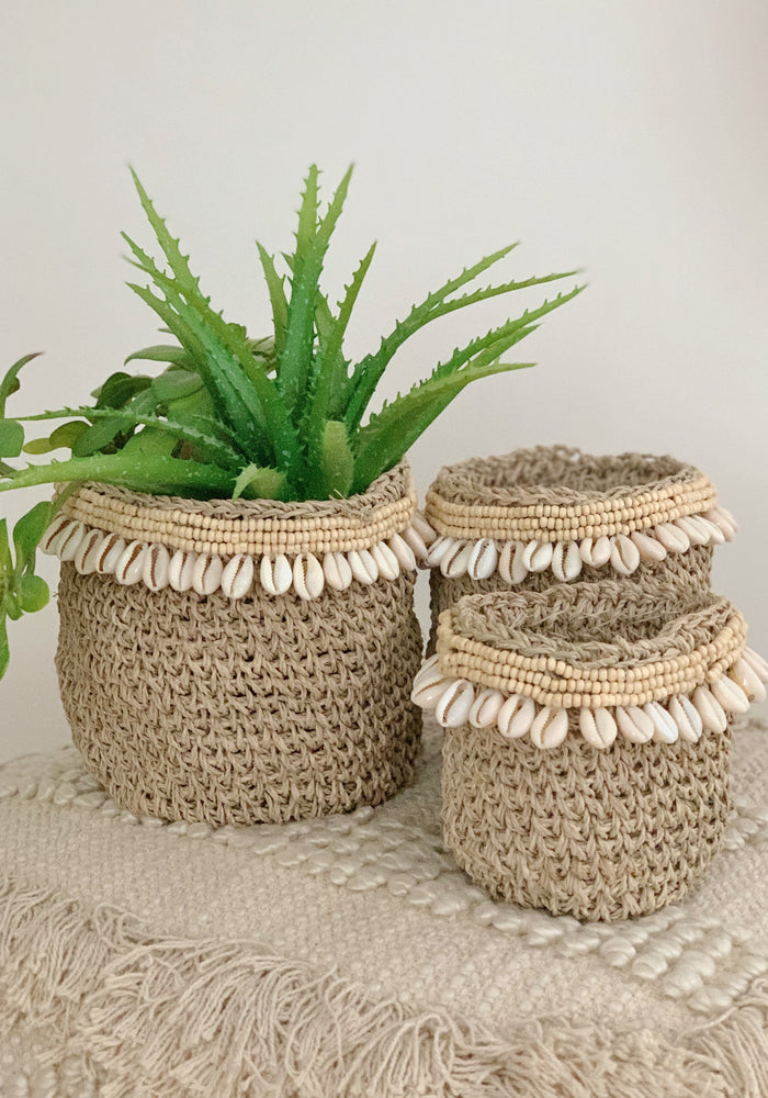Cabo Gypsy Shell Baskets | White Bohemian Store