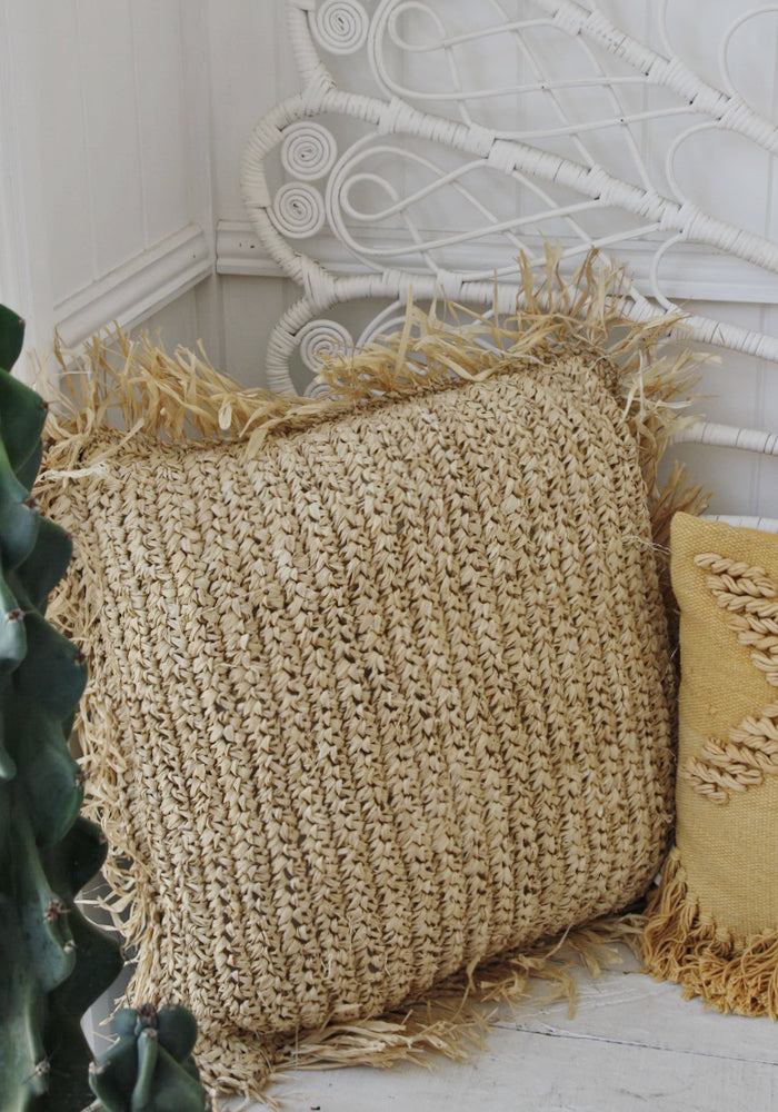cabo gypsy straw raffia cushion