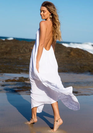 Cabo gypsy temple backless maxi dress white