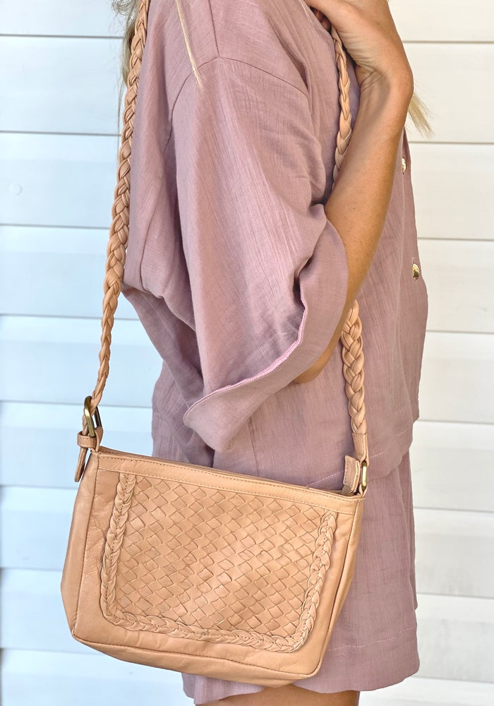 Evie Leather Bag - Nude