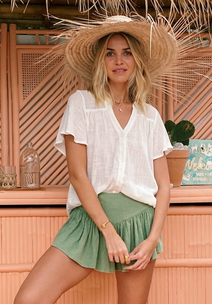 CABO GYPSY Shoreline Blouse - Coconut Sorbet