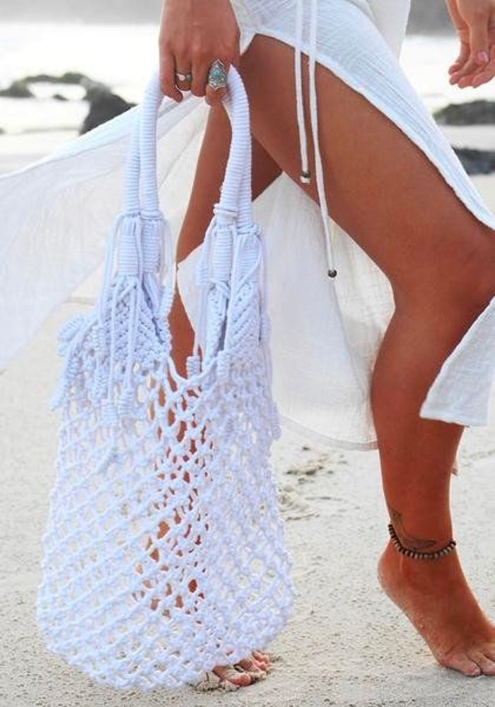 CABO GYPSY White Dreamer Macrame Bag