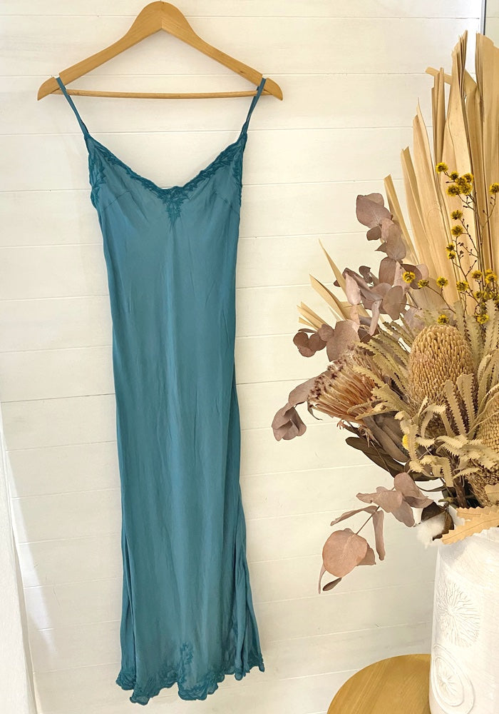 Daisy Silk Linen Maxi Dress - Turquoise