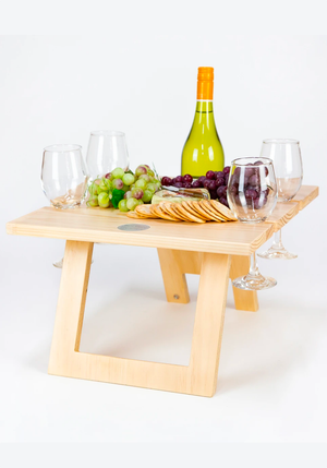 Folding Wine Hardwood Table - Light