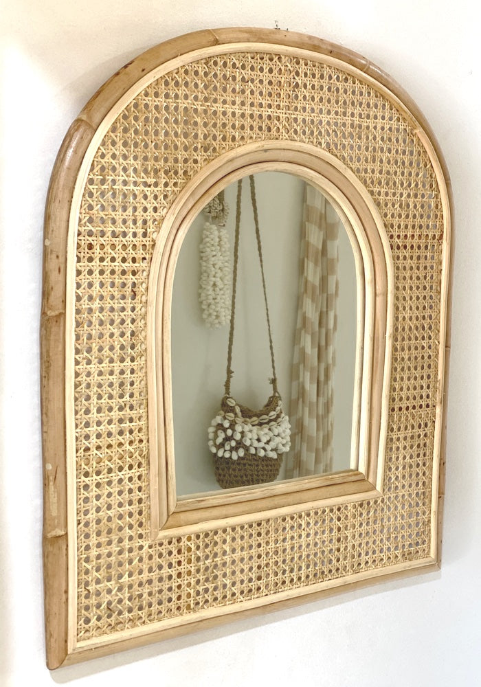 Luna Arched Rattan Mirror