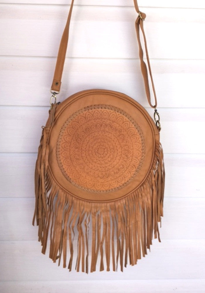 CABO GYPSY MANDALA ROunD  BAG Tan