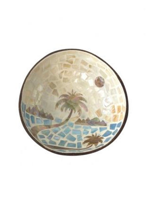 Palm Tree Coconut Bowl Blue
